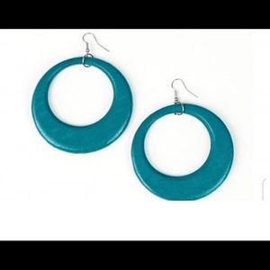 Bluish green wooden earrings